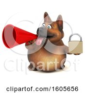 Clipart Of A 3d German Shepherd Dog Holding A Padlock On A White Background Royalty Free Illustration by Julos