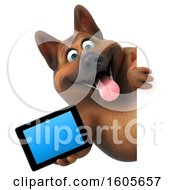 Clipart Of A 3d German Shepherd Dog Holding A Tablet On A White Background Royalty Free Illustration by Julos