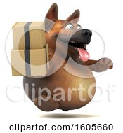Clipart Of A 3d German Shepherd Dog Holding Boxes On A White Background Royalty Free Illustration by Julos
