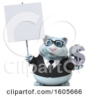 Clipart Of A 3d White Business Kitty Cat Holding A Dollar Sign On A White Background Royalty Free Illustration