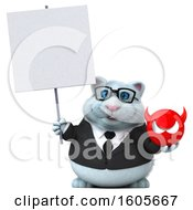Clipart Of A 3d White Business Kitty Cat Holding A Devil On A White Background Royalty Free Illustration
