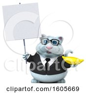 Clipart Of A 3d White Business Kitty Cat Holding A Banana On A White Background Royalty Free Illustration