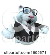 Clipart Of A 3d White Business Kitty Cat Holding Up A Middle Finger On A White Background Royalty Free Illustration