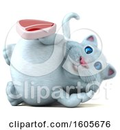 Clipart Of A 3d White Kitty Cat Holding A Steak On A White Background Royalty Free Illustration