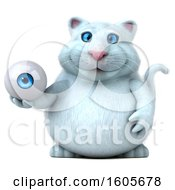 Clipart Of A 3d White Kitty Cat Holding An Eyeball On A White Background Royalty Free Illustration