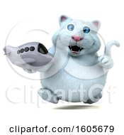 Clipart Of A 3d White Kitty Cat Holding A Plane On A White Background Royalty Free Illustration