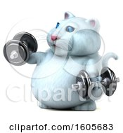 Clipart Of A 3d White Kitty Cat Working Out With Dumbbells On A White Background Royalty Free Illustration