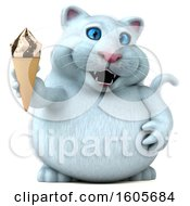 Clipart Of A 3d White Kitty Cat Holding A Waffle Cone On A White Background Royalty Free Illustration
