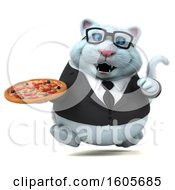Clipart Of A 3d White Business Kitty Cat Holding A Pizza On A White Background Royalty Free Illustration