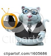 Clipart Of A 3d White Business Kitty Cat Holding A Tv On A White Background Royalty Free Illustration