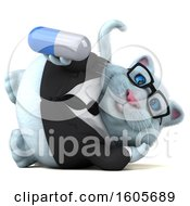 Clipart Of A 3d White Business Kitty Cat Holding A Pill On A White Background Royalty Free Illustration