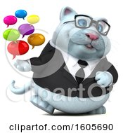 3d White Business Kitty Cat Holding Messages On A White Background