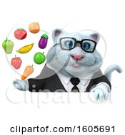 Clipart Of A 3d White Business Kitty Cat Holding A  On A White Background Royalty Free Illustration