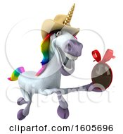 Clipart Of A 3d Cowboy Unicorn Holding A Chocolate Egg On A White Background Royalty Free Illustration