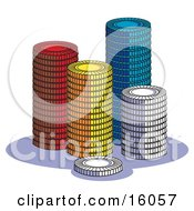 Stacks Of Red Yellow Blue And White Poker Chips In A Casino Clipart Illustration