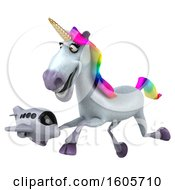 Clipart Of A 3d Unicorn Holding A Plane On A White Background Royalty Free Illustration