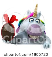Clipart Of A 3d Chubby Unicorn Holding A Chocolate Egg On A White Background Royalty Free Illustration