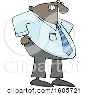 Cartoon Chubby Black Business Man Pulling Up His Pants