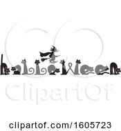 Clipart Of A Line Of Cats Spelling The Word Halloween Under A Silhouetted Flying Witch Royalty Free Vector Illustration