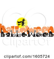 Clipart Of A Line Of Cats Spelling The Word Halloween With Orange Text Under A Silhouetted Flying Witch Royalty Free Vector Illustration