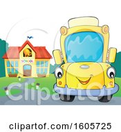 Poster, Art Print Of Happy Yellow School Bus By A Building