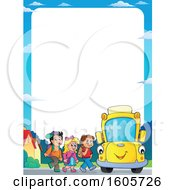 Border Of Happy Yellow School Bus And Children At A Stop