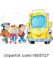 Happy Yellow School Bus And Children At A Stop