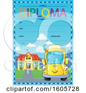 Diploma With A Happy Yellow School Bus By A Building