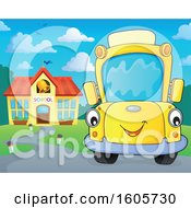 Poster, Art Print Of Happy Yellow School Bus By A Building On A Sunny Day