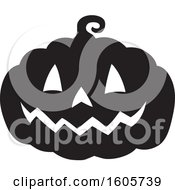 Black And White Silhouetted Carved Halloween Jackolantern Pumpkin
