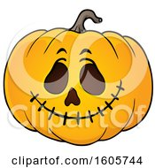 Clipart Of A Carved Halloween Jackolantern Pumpkin Royalty Free Vector Illustration