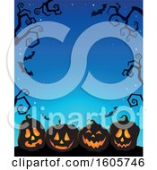 Clipart Of A Blue Halloween Background With Illuminated Jackolantern Pumpkins Bats And Bare Branches Royalty Free Vector Illustration