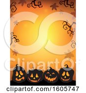 Clipart Of A Halloween Background With Illuminated Jackolantern Pumpkins And Bare Branches On Orange Royalty Free Vector Illustration