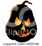 Clipart Of A Carved Illuminated Halloween Jackolantern Pumpkin Royalty Free Vector Illustration