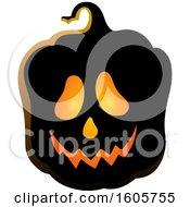Clipart Of A Carved Illuminated Halloween Jackolantern Pumpkin Royalty Free Vector Illustration