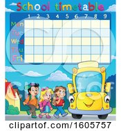 Poster, Art Print Of Time Table With A Happy Yellow School Bus And Children At A Stop