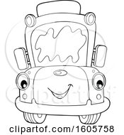 Poster, Art Print Of Black And White Happy School Bus