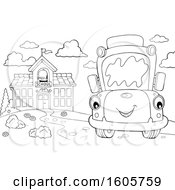 Poster, Art Print Of Black And White Happy School Bus By A Building