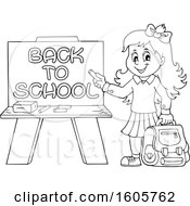 Black And White Happy Girl Holding A Backpack And Piece Of Chalk By A Back To School Chalkboard