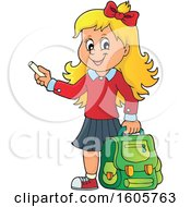 Happy Blond School Girl Holding A Backpack And Piece Of Chalk