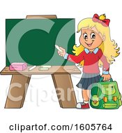 Happy Blond School Girl Holding A Backpack And Piece Of Chalk By A Chalkboard