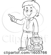 Black And White Happy School Boy Holding A Backpack And Piece Of Chalk