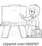 Black And White Happy Boy Holding A Backpack And Piece Of Chalk By A Chalkboard