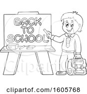 Black And White Happy Boy Holding A Backpack And Piece Of Chalk By A Back To School Chalkboard