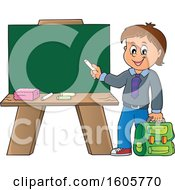 Clipart Of A Happy Boy Holding A Backpack And Piece Of Chalk By A Chalkboard Royalty Free Vector Illustration
