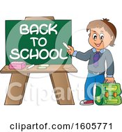 Happy Boy Holding A Backpack And Piece Of Chalk By A Back To School Chalkboard