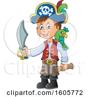 Clipart Of A Boy Pirate With A Parrot Sword And Treasure Map In Hand Royalty Free Vector Illustration