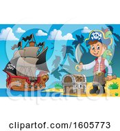 Boy Pirate With A Parrot Sword And Treasure Map In Hand On A Beach