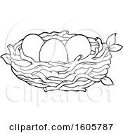Poster, Art Print Of Black And White Bird Nest With Eggs