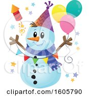 Clipart Of A Festive Party Snowman With Balloons And A Firework Royalty Free Vector Illustration
